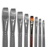 Кисти Живопись 1112 08 №8 Синтетика плоская длинная ручка рыжий ворс шт (+2099)
