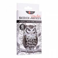 Скетч маркер Santi Studio 2-ух сторонние Набор 6шт/упаковка Gray tones  (+06068)